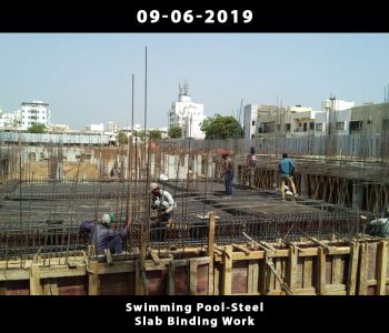 Swimming Pool-Steel Slab Binding Work