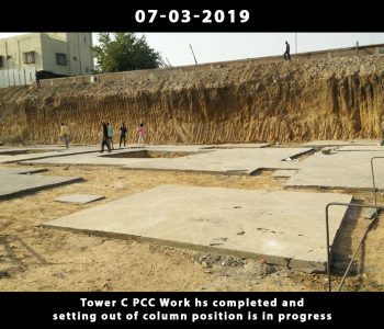 Tower C PCC Work hs completed and setting out of column position is in progress