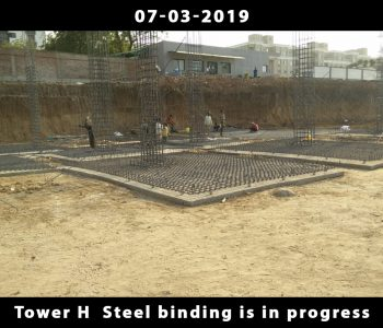 Tower H Steel binding is in progress